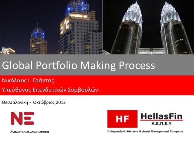 Global Portfolio Μaking ProcessΝικόλαος Ι. ΓράνταςΥπεύθυνος Επενδυτικών ΣυμβουλώνΘεσσαλονίκη - Οκτώβριος 2012   Νεανική επ...