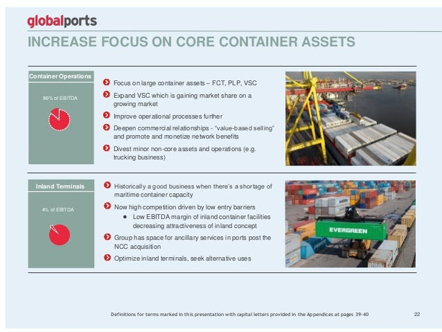 INCREASE FOCUS ON CORE CONTAINER ASSETS 22 Focus on large container assets – FCT, PLP, VSC Expand VSC which is gaining mar...