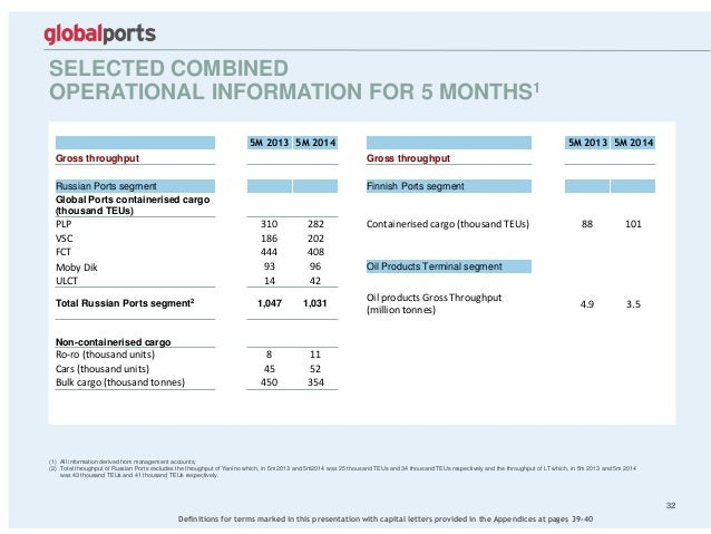 SELECTED COMBINED OPERATIONAL INFORMATION FOR 5 MONTHS1 32 (1) All information derived from management accounts; (2) Total...
