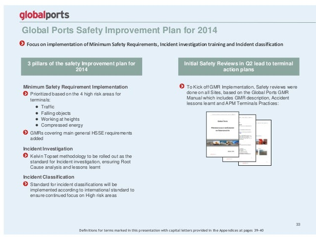 To Kick off GMR Implementation, Safety reviews were done on all Sites, based on the Global Ports GMR Manual which includes...