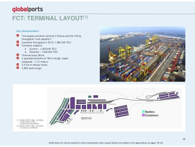 Key characteristics The largest container terminal in Russia and the CIS by throughput(1) and capacity(2) Container throug...