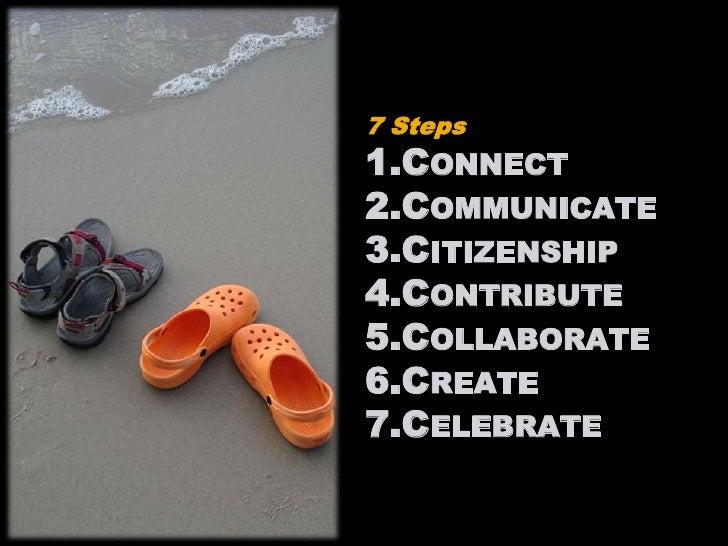 7 Steps<br />Connect<br />Communicate<br />Citizenship<br />Contribute<br />Collaborate<br />Create<br />Celebrate<br />