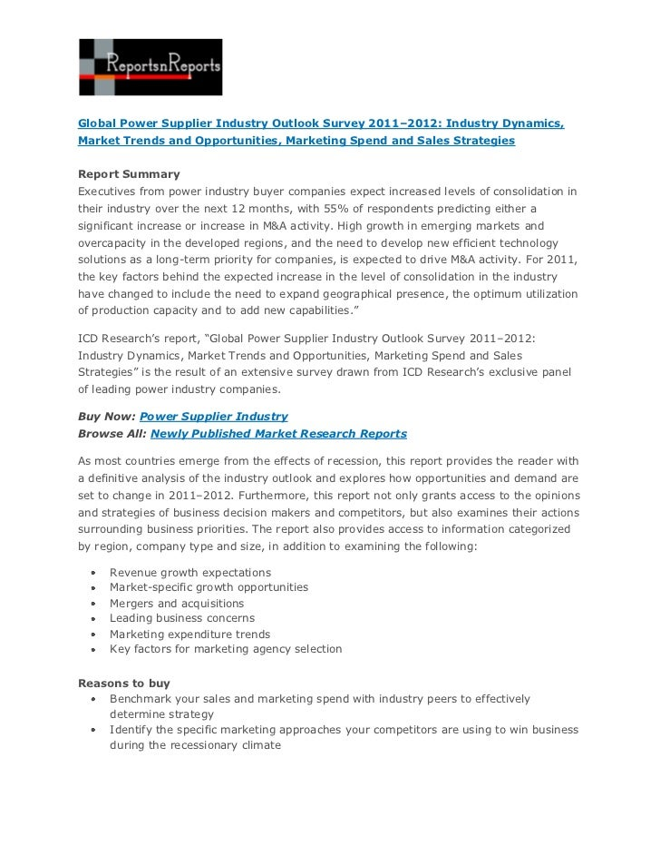 Global Power Supplier Industry Outlook Survey 2011–2012: Industry Dynamics,Market Trends and Opportunities, Marketing Spen...