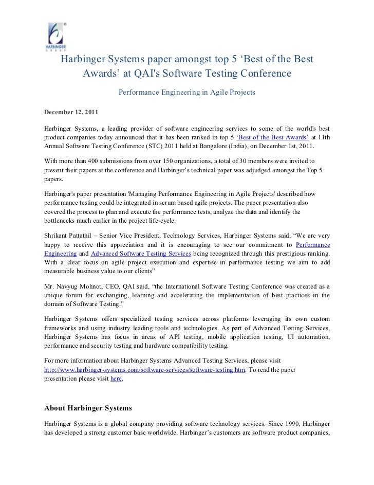 """Harbinger Systems paper amongst top 5 """"Best of the Best          Awards"""" at QAIs Software Testing Conference              ..."""