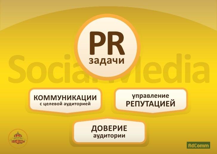 PRSocial Media КОММУНИКАЦИИ                     задачи                                      управление  с целевой аудитори...