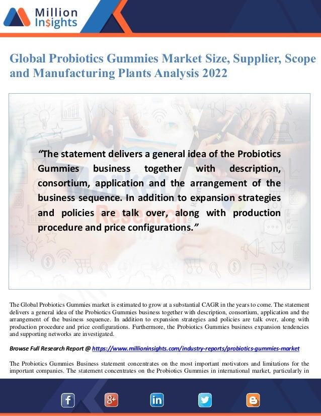 Global probiotics gummies market size, supplier, scope and