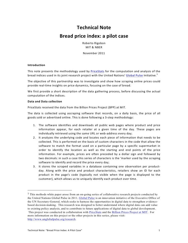 Technical Note                                                        Bread price index: a pilot case     ...