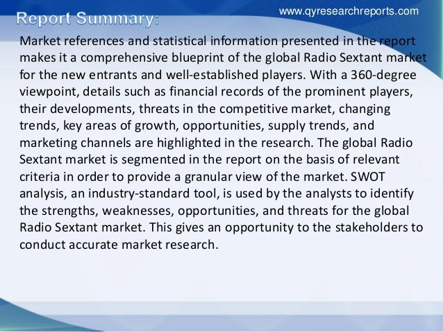 Market references and statistical information presented in the report makes it a comprehensive blueprint of the global Rad...