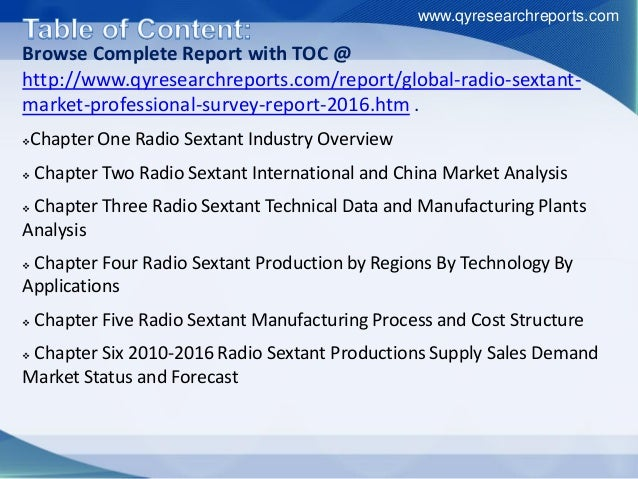 Browse Complete Report with TOC @ http://www.qyresearchreports.com/report/global-radio-sextant- market-professional-survey...