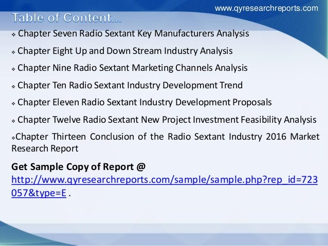  Chapter Seven Radio Sextant Key Manufacturers Analysis  Chapter Eight Up and Down Stream Industry Analysis  Chapter Ni...
