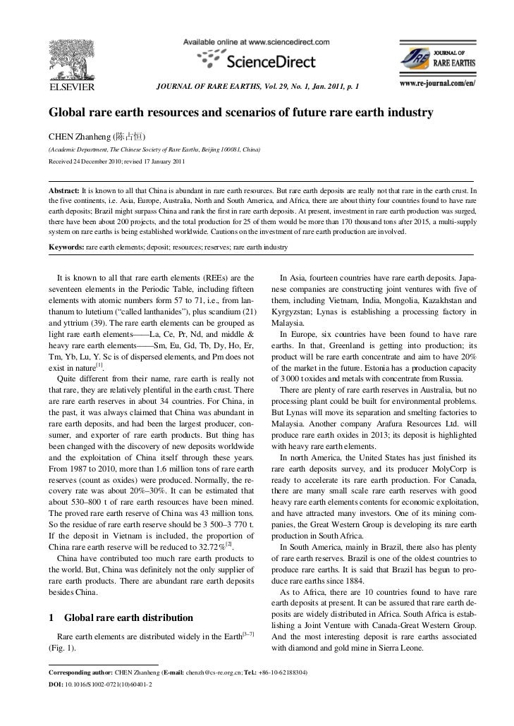 JOURNAL OF RARE EARTHS, Vol. 29, No. 1, Jan. 2011, p. 1Global rare earth resources and scenarios of future rare earth indu...