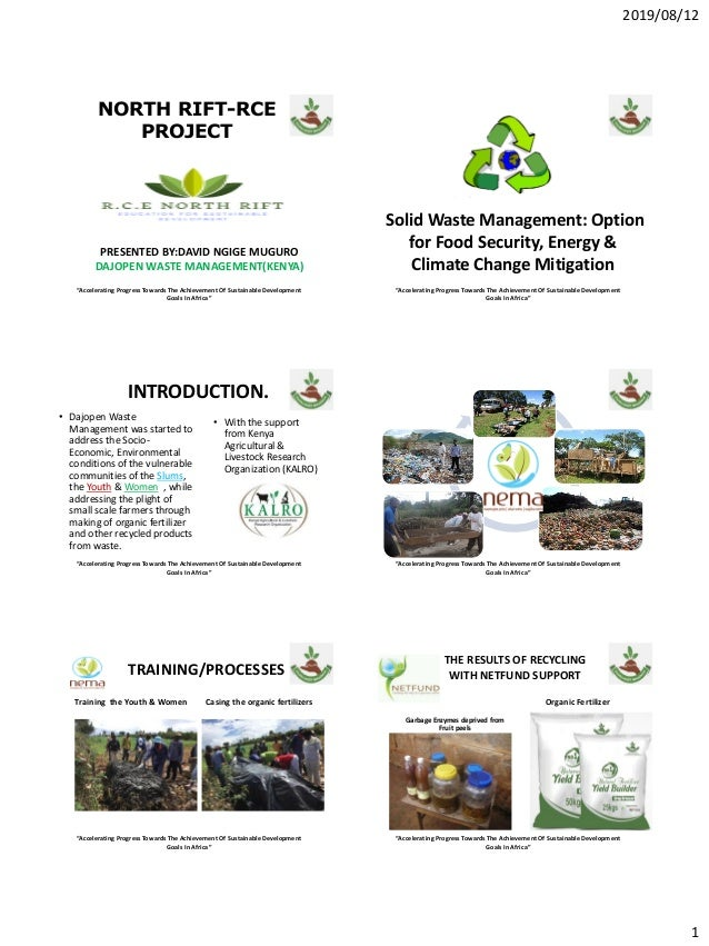 """2019/08/12 1 """"Accelerating Progress Towards The Achievement Of Sustainable Development Goals In Africa"""" NORTH RIFT-RCE PRO..."""