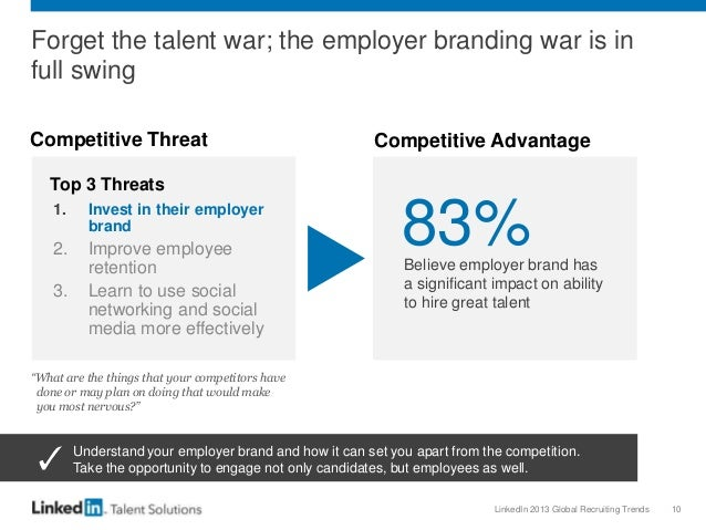 LinkedIn 2013 Global Recruiting Trends 10 Forget the talent war; the employer branding war is in full swing Competitive Th...