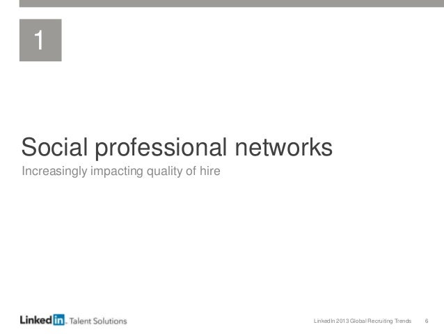 LinkedIn 2013 Global Recruiting Trends 6 Social professional networks Increasingly impacting quality of hire 1