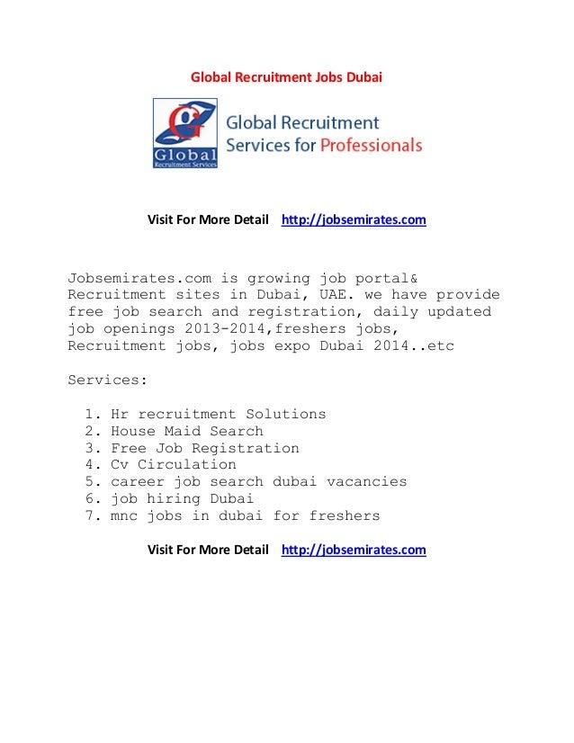 Global recruitment jobs dubai