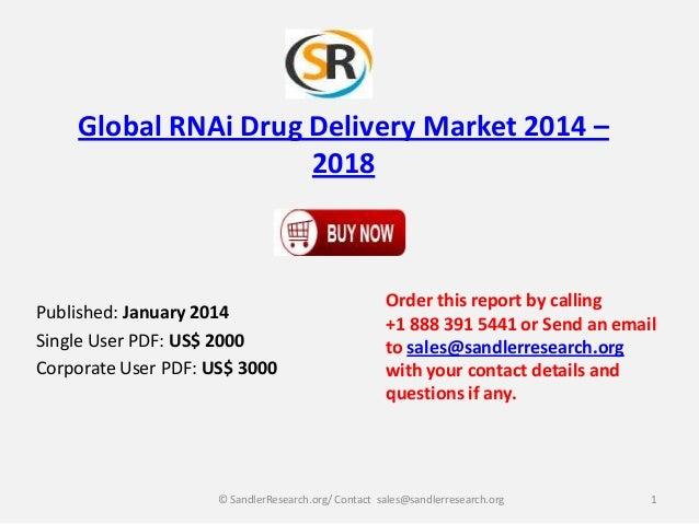 Global RNAi Drug Delivery Market 2014 – 2018  Published: January 2014 Single User PDF: US$ 2000 Corporate User PDF: US$ 30...
