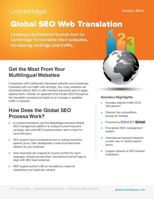 Solution Briefglobalmarketingops.comGlobal SEO Web TranslationLeading international brands turn toLionbridge to translate ...