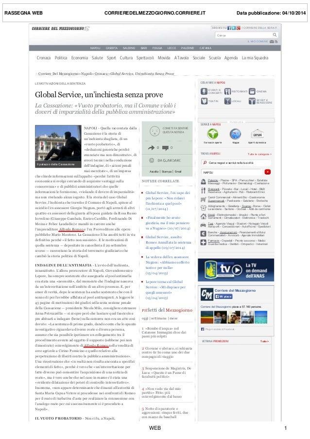 RASSEGNA WEB CORRIEREDELMEZZOGIORNO.CORRIERE.IT Data pubblicazione: 04/10/2014  CORRIERE DELLA SERA.IT HiQPdf Evaluation 1...