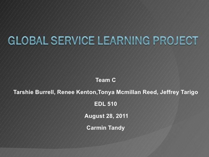 Team C Tarshie Burrell, Renee Kenton,Tonya Mcmillan Reed, Jeffrey Tarigo EDL 510 August 28, 2011 Carmin Tandy