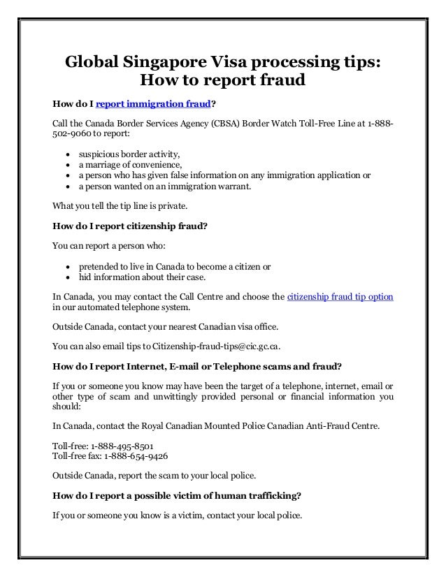 Global Singapore Visa Processing Tips How To Report Fraud