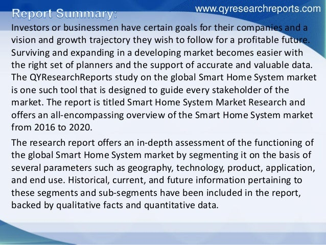 global smart home system industry 2016 market research report. Black Bedroom Furniture Sets. Home Design Ideas