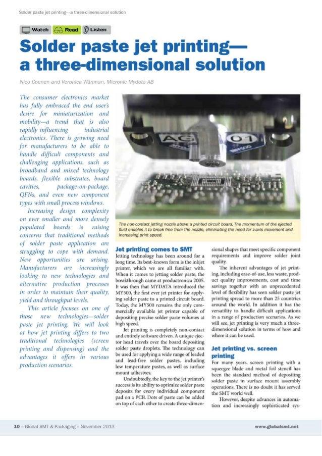 JetPrinting - la soluzione 3D per il deposito di crema saldante
