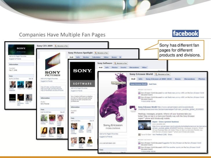 Companies Have Multiple Fan Pages                                                       Sony has different fan            ...