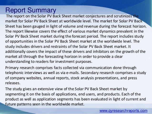 market survey global solar back sheet industry For overview analysis, the report introduces solar back sheet basic information including definition, classification, application, industry chain structure, industry overview, policy.