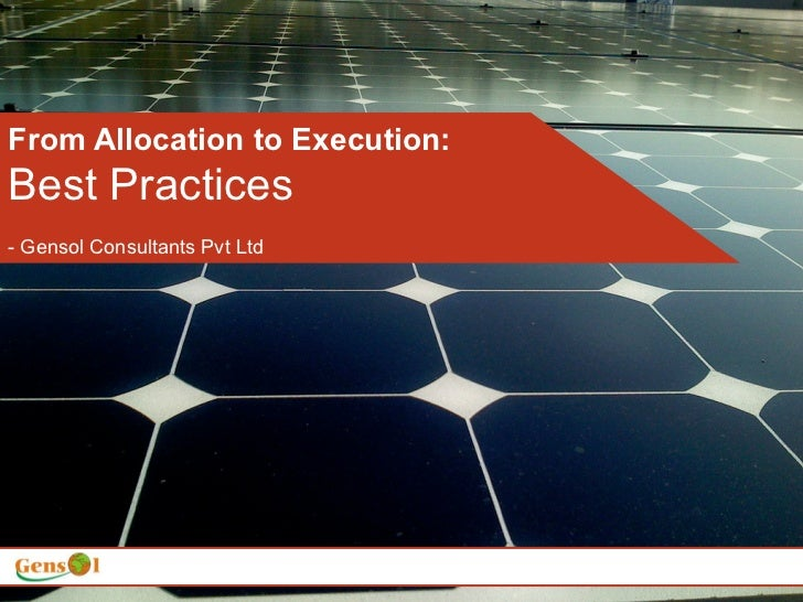 From Allocation to Execution:Best Practices- Gensol Consultants Pvt Ltd