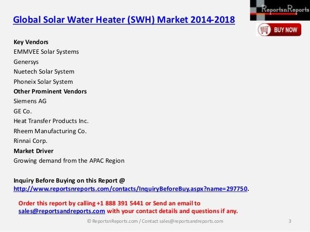 Global Solar Water Heater (Active & Passive) Market 2014-2018