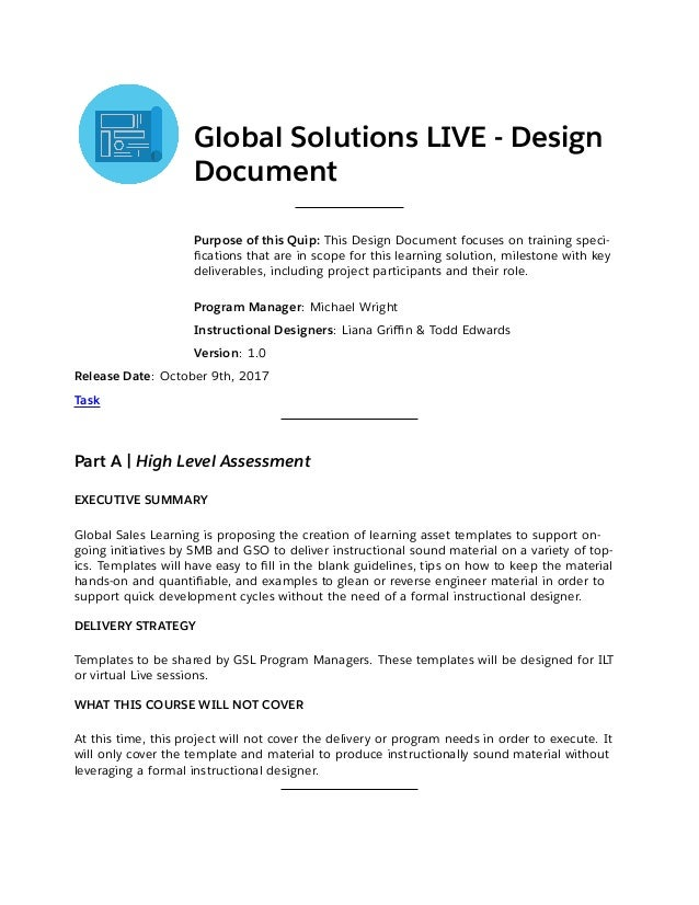 Design Document For Template Course