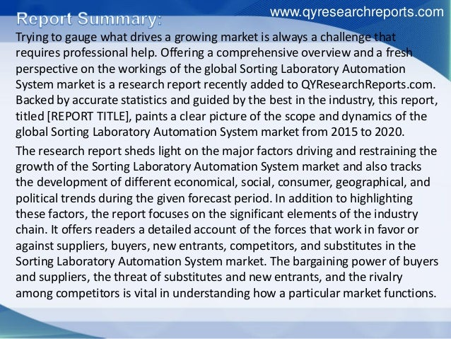 Global sorting laboratory automation system market 2015 industry growth, trends, research, analysis, demand and overview Slide 2