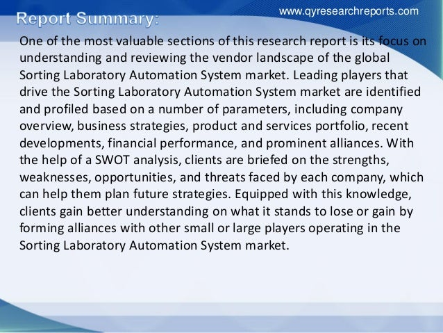 Global sorting laboratory automation system market 2015 industry growth, trends, research, analysis, demand and overview Slide 3