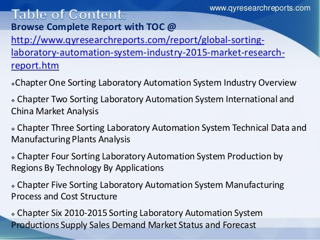 Browse Complete Report with TOC @ http://www.qyresearchreports.com/report/global-sorting- laboratory-automation-system-ind...