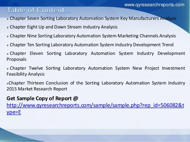  Chapter Seven Sorting Laboratory Automation System Key Manufacturers Analysis  Chapter Eight Up and Down Stream Industr...