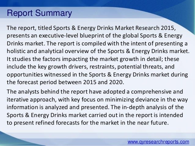 an analysis of the topic of the market for the energy drinks Since the 1960s, the energy drink market has grown into a multibillion  taurine  analysis of 80 different energy drinks showed an average.