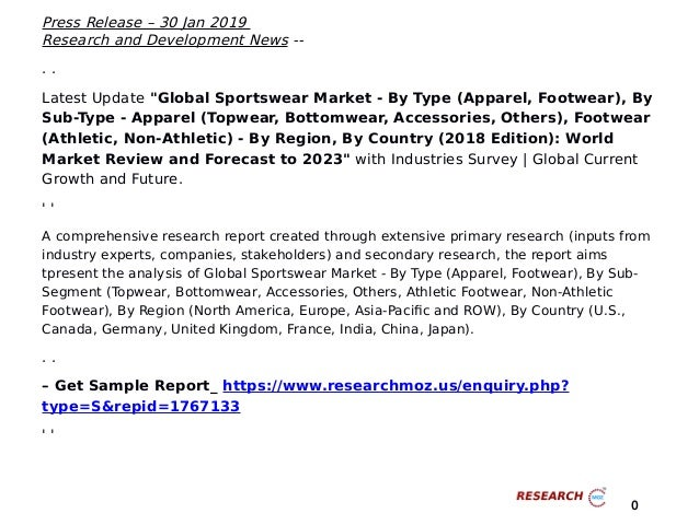 Complete Overview of Sportswear Global Market 2019- By Type