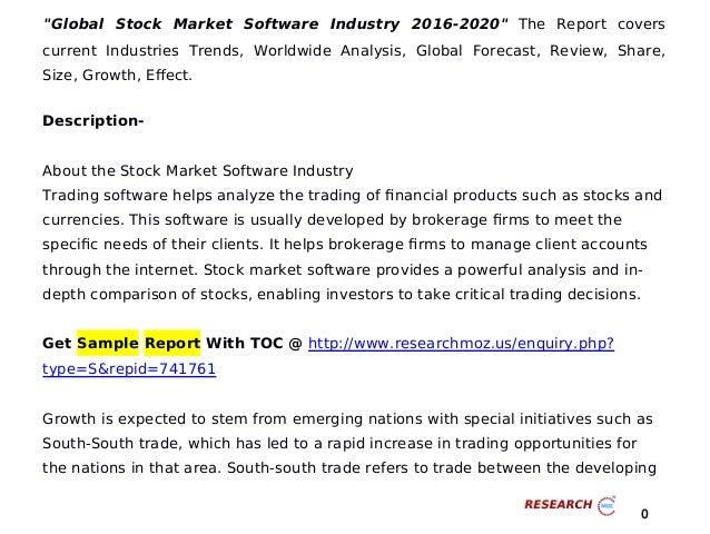 Stock Market Trends 2020.Global Stock Market Software Industry 2016 2020