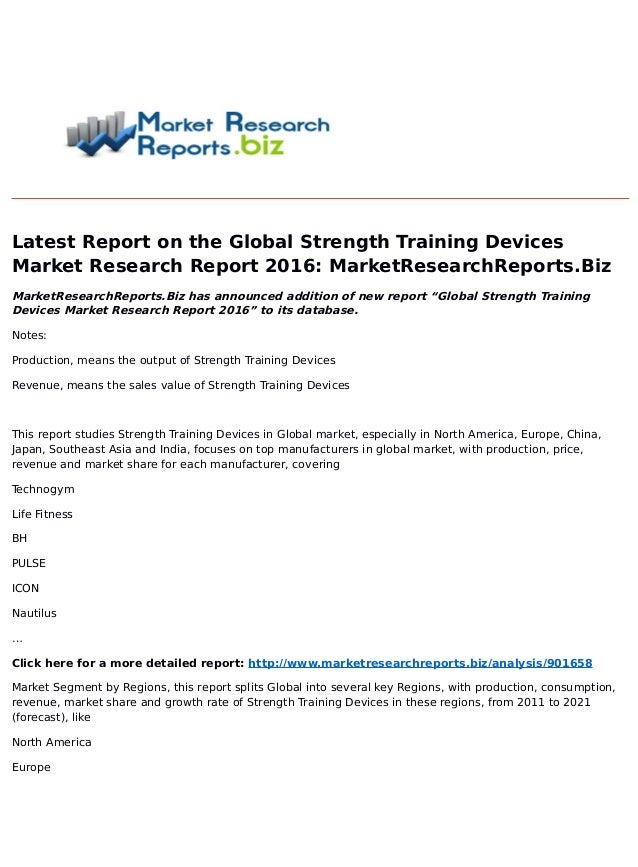 Premise Indicator Words: Global Strength Training Devices Market Research Report 2016