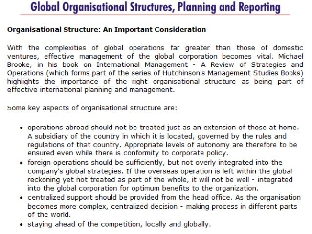Global structure