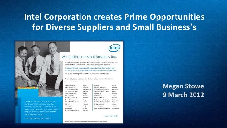 Intel Corporation creates Prime Opportunities  for Diverse Suppliers and Small Business's                                 ...