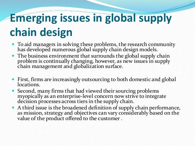 emerging trends in operations scm We invite papers for the 8th international conference on operations and supply chain management cranfield university, uk capture new trends and issues in.