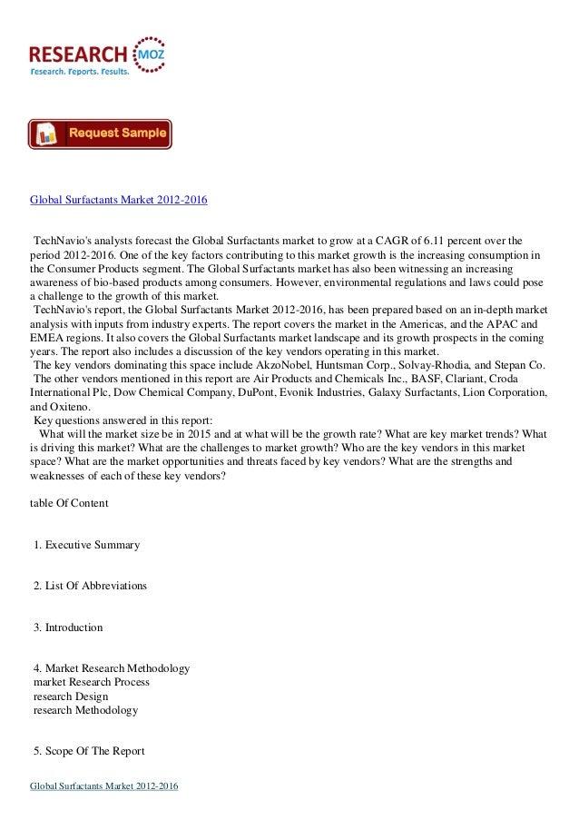 Global Surfactants Market 2012-2016 TechNavio's analysts forecast the Global Surfactants market to grow at a CAGR of 6.11 ...