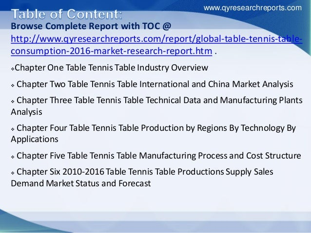 Browse Complete Report with TOC @ http://www.qyresearchreports.com/report/global-table-tennis-table- consumption-2016-mark...