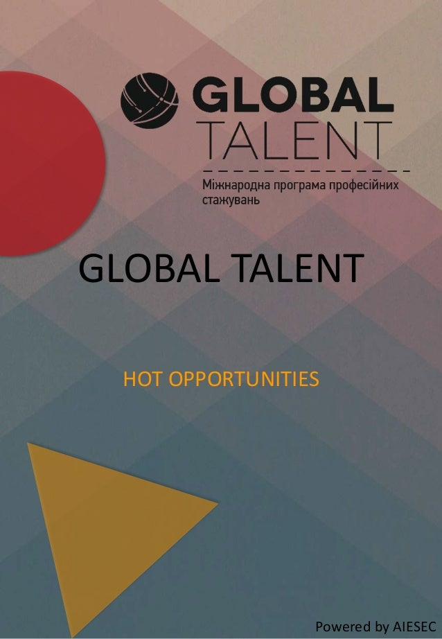 GLOBAL TALENT HOT OPPORTUNITIES Powered by AIESEC