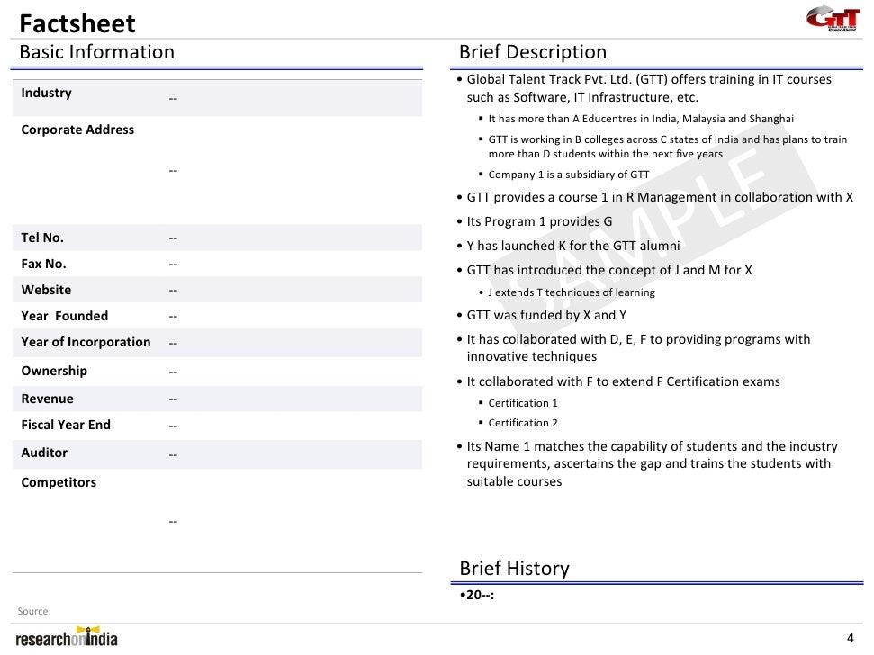 Global Talent Track Pvt Ltd Company Profile – Brief Company Profile Sample