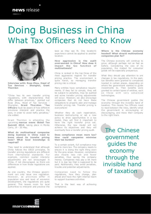 Doing Business in China What Tax Officers Need to Know laws as they see fit. One location's experience cannot be applied t...