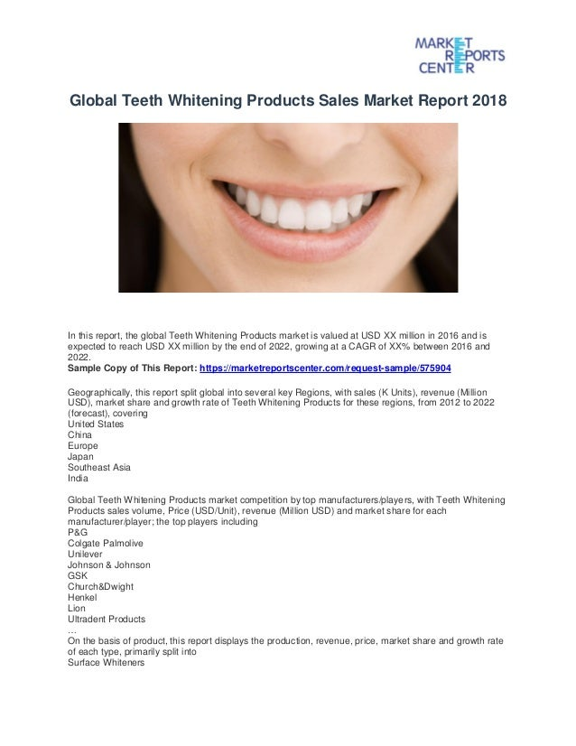 Global Teeth Whitening Products Sales Market Report 2018