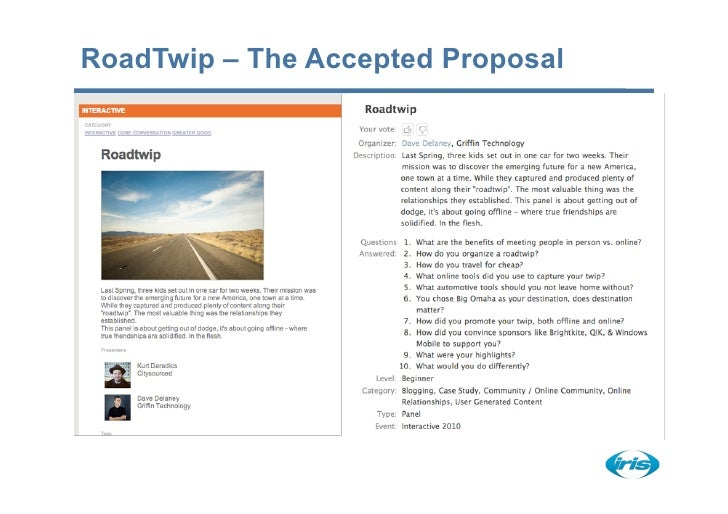 RoadTwip – The Accepted Proposal