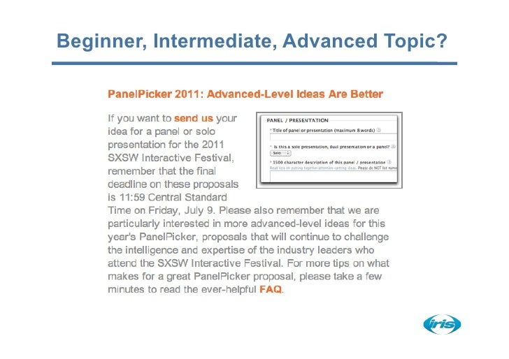 Beginner, Intermediate, Advanced Topic?